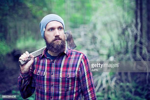 Bearded man with axe