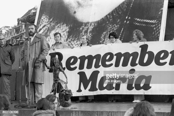 A bearded RK Beaumont secretary of the Maria Colwell Memorial Fund addresses the public meeting in Trafalgar Square London during Maria Colwell Day...