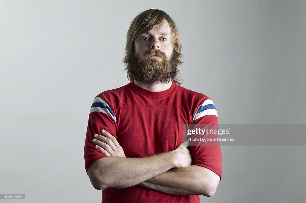 Bearded Self Portrait with Arms Crossed : Stock Photo