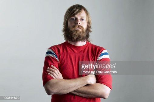 Bearded Self Portrait with Arms Crossed : Bildbanksbilder