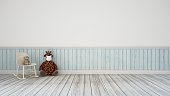 Bear-Doll in kid room and wall decoration-Interior design 3d rendering for Background , Design , Artwork and Other