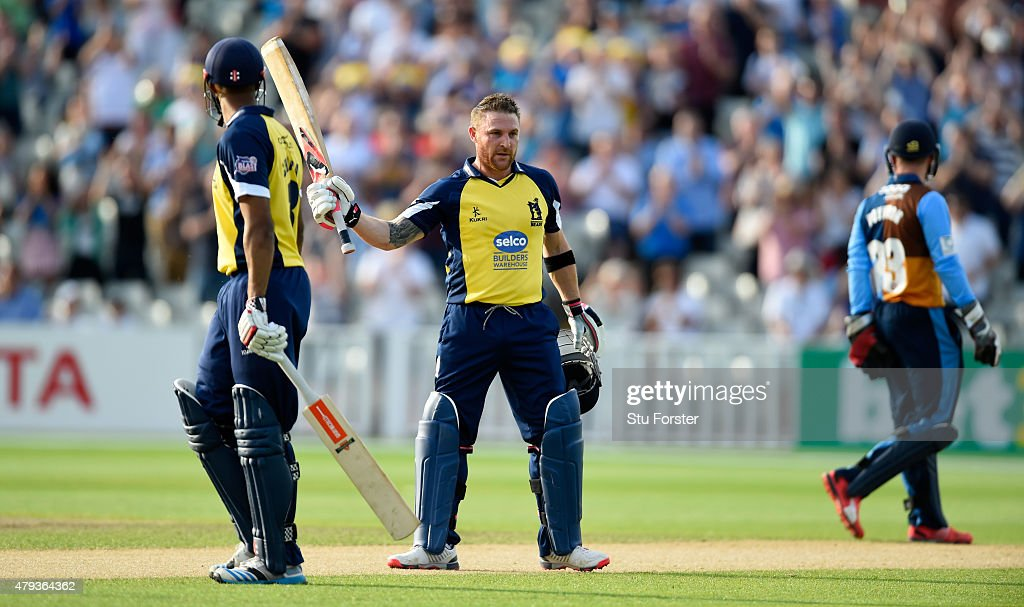 Bears batsman Brendon McCullum raises his bat after reaching his century during the NatWest T20 Blast match between Birmingham Bears and Derbyshire...