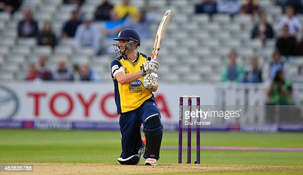 Bears batsman Chris Woakes hits out during his half century during the NatWest T20 Blast quarter final match between Birmingham Bears and Essex...
