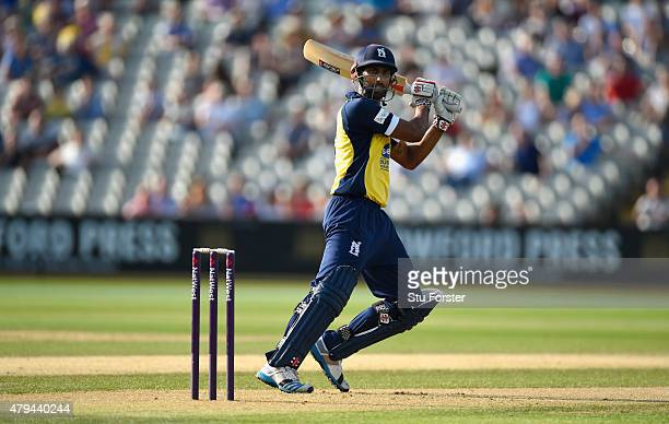 Bears batsman Varun Chopra hits out during the NatWest T20 Blast match between Birmingham Bears and Derbyshire Falcons at Edgbaston on July 3 2015 in...