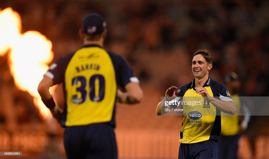 Bears bowler <a gi-track='captionPersonalityLinkClicked' href=/galleries/search?phrase=Chris+Woakes&family=editorial&specificpeople=4444585 ng-click='$event.stopPropagation()'>Chris Woakes</a> celebrates after dismissing Essex batsman Tom Westley during the NatWest T20 Blast quarter final match between Birmingham Bears and Essex Eagles at Edgbaston on August 13, 2015 in Birmingham, England.