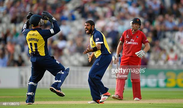 Bears bowler Jeetan Patel appeals for a wicket during the NatWest T20 blast match between Birmingham Bears and Lancashire Lightning at Edgbaston on...
