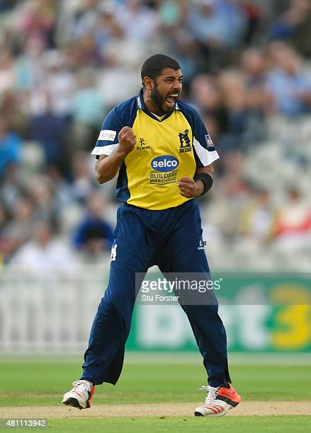 Bears bowler Jeetan Patel celebrates after dismissing Lancashire batsman Karl Brown during the NatWest T20 blast match between Birmingham Bears and...