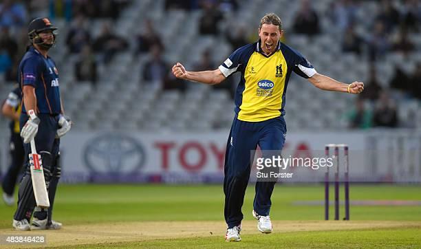 Bears bowler Rikki Clarke celebrates afterdismissing Essex batsman Mark Pettini during the NatWest T20 Blast quarter final match between Birmingham...