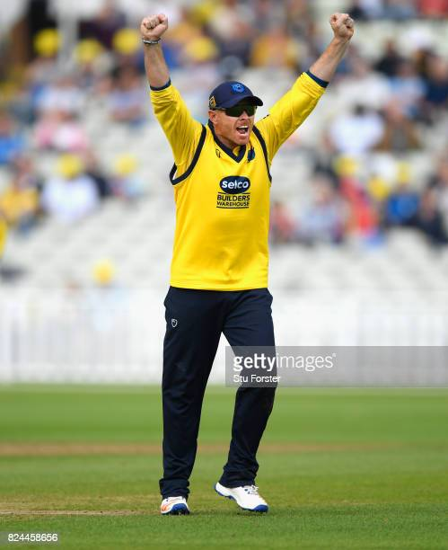 Bears captain Ian Bell celebrates a wicket during the Natwest T20 Blast match between Birmingham Bears and Lancashire Lightning at Edgbaston on July...