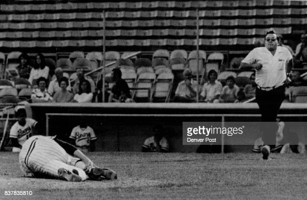 Bears Trainer Chip Steger Rushes to Aid Pitcher Mike Thompson Thompson was felled by low liner hit by Oklahoma City's Cliff Johnson Drive hit pitcher...
