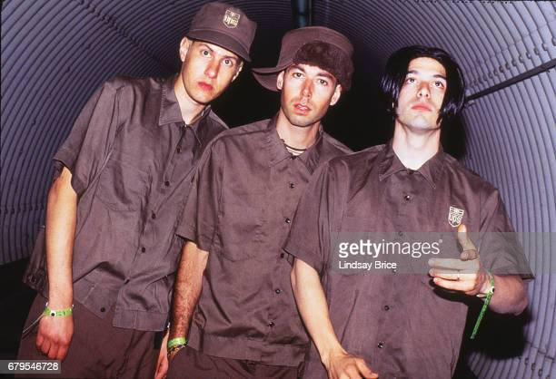 Beastie Boys Michael 'Mike D' Diamond Adam 'MCA' Yauch Adam 'Ad Rock' Horowitz pause for a portrait in the tunnel leading to the stage at the...