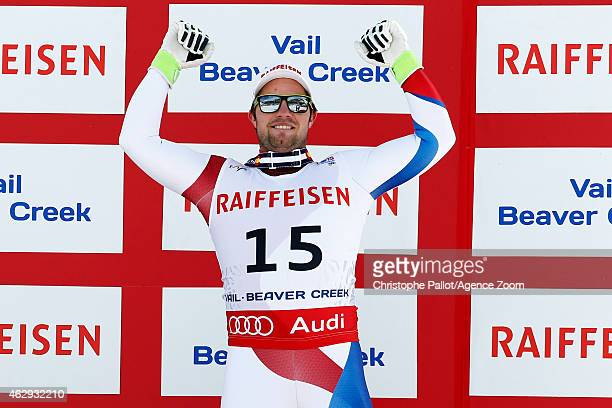 Beat Feuz of Switzerland celebrates after winning the bronze medal during the FIS Alpine World Ski Championships Men's Downhill on February 07 2015...