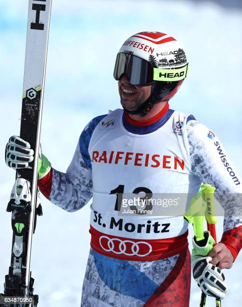 Beat Feuz of Switzerland celebrates at the finish in the Men's Downhill during the FIS Alpine World Ski Championships on February 12 2017 in St...