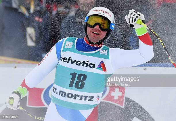 Beat Feuz of Switzerland celebrates during the Audi FIS Alpine Skiing World Cup Men's Downhill Race on March 16 2016 in St Moritz Switzerland