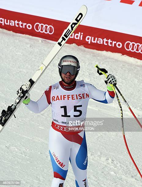 Beat Feuz of Switzerland celebrates in the finish area during the 2015 World Alpine Ski Championships men's downhill February 7 2015 in Beaver Creek...