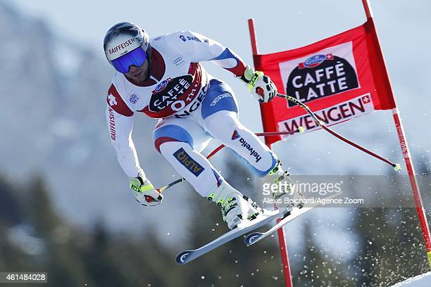 Beat Feuz of Switzerland competes during the Audi FIS Alpine Ski World Cup Men's Downhill Training on January 13 2015 in Wengen Switzerland