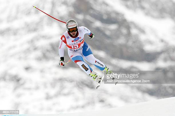 Beat Feuz of Switzerland competes during the Audi FIS Alpine Ski World Cup Men's Downhill on January 18 2014 in Wengen Switzerland