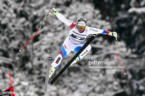 Beat Feuz of Switzerland competes during the Audi FIS Alpine Ski World Cup Men's Downhill on February 28 2015 in GarmischPartenkirchen Germany