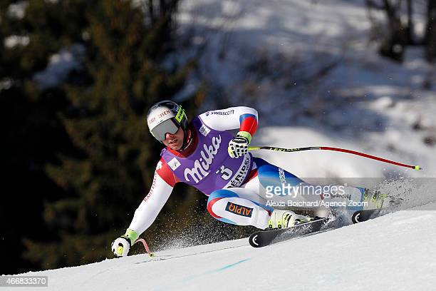 Beat Feuz of Switzerland competes during the Audi FIS Alpine Ski World Cup Finals Men's Super G on March 19 2015 in Meribel France