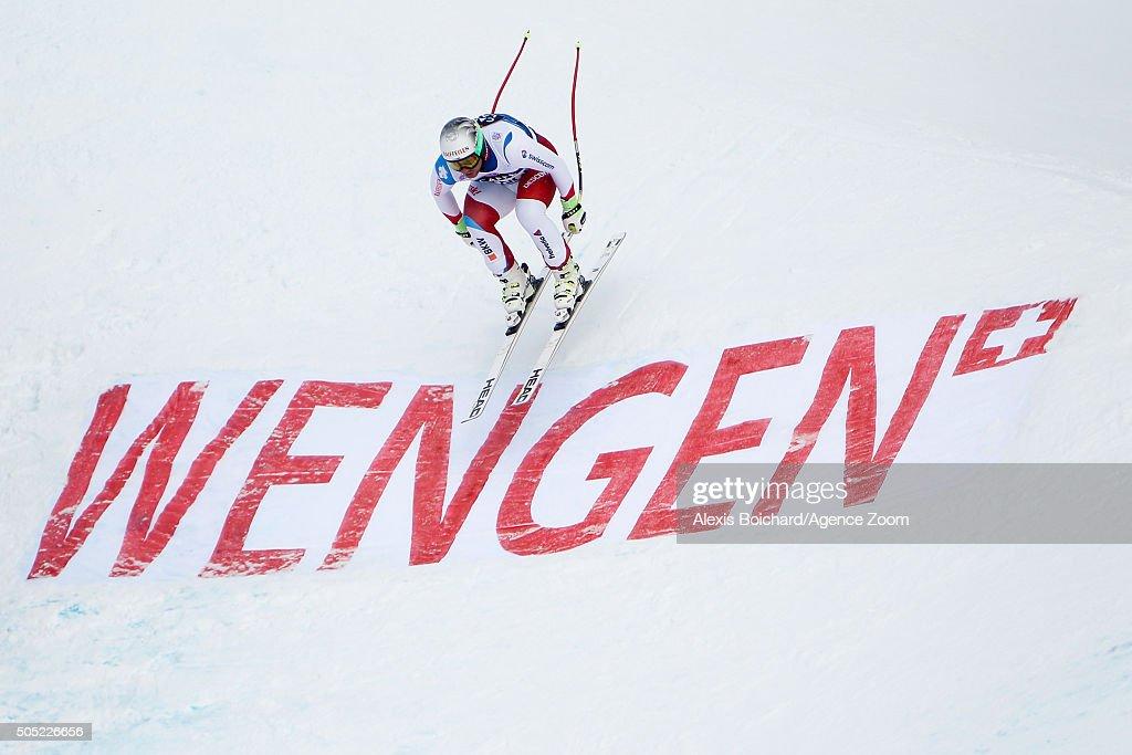 Beat Feuz of Switzerland competes during the Audi FIS Alpine Ski World Cup Men's Downhill on January 16 2016 in Wengen Switzerland