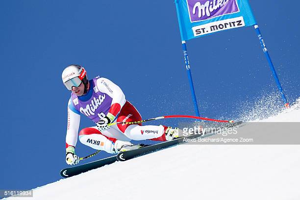 Beat Feuz of Switzerland competes during the Audi FIS Alpine Ski World Cup Finals Men's and Women's SuperG on March 17 2016 in St Moritz Switzerland