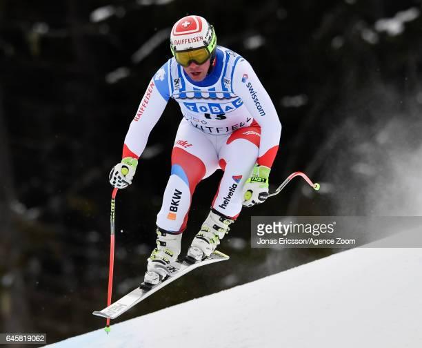 Beat Feuz of Switzerland competes during the Audi FIS Alpine Ski World Cup Men's Downhill on February 25 2017 in Kvitfjell Norway