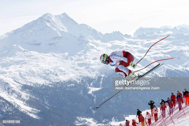 Beat Feuz of Switzerland competes during the FIS Alpine Ski World Championships Men's Downhill on February 12 2017 in St Moritz Switzerland