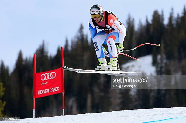 Beat Feuz of Switzerland descends the course during men's downhill training for the Audi FIS World Cup on the Birds of Prey on December 3 2014 in...