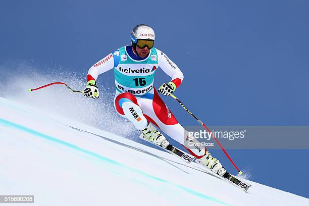 Beat Feuz of Switzerland in action during the Audi FIS Alpine Skiing World Cup downhill training on March 15 2016 in St Moritz Switzerland