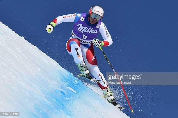 Beat Feuz of Switzerland in action during the the Audi FIS Alpine Ski World Cup Finals Men's and Women's Super G on March 17 2016 in St Moritz...