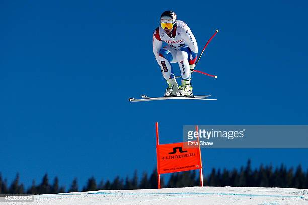 Beat Feuz of Switzerland practices during Men's Downhill training on the Birds of Prey racecourse on Day 5 of the 2015 FIS Alpine World Ski...