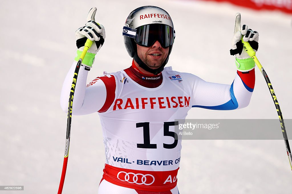 <a gi-track='captionPersonalityLinkClicked' href=/galleries/search?phrase=Beat+Feuz&family=editorial&specificpeople=4193254 ng-click='$event.stopPropagation()'>Beat Feuz</a> of Switzerland reacts after crossing the finish of the Men's Downhill in Red Tail Stadium on Day 6 of the 2015 FIS Alpine World Ski Championships on February 7, 2015 in Beaver Creek, Colorado.