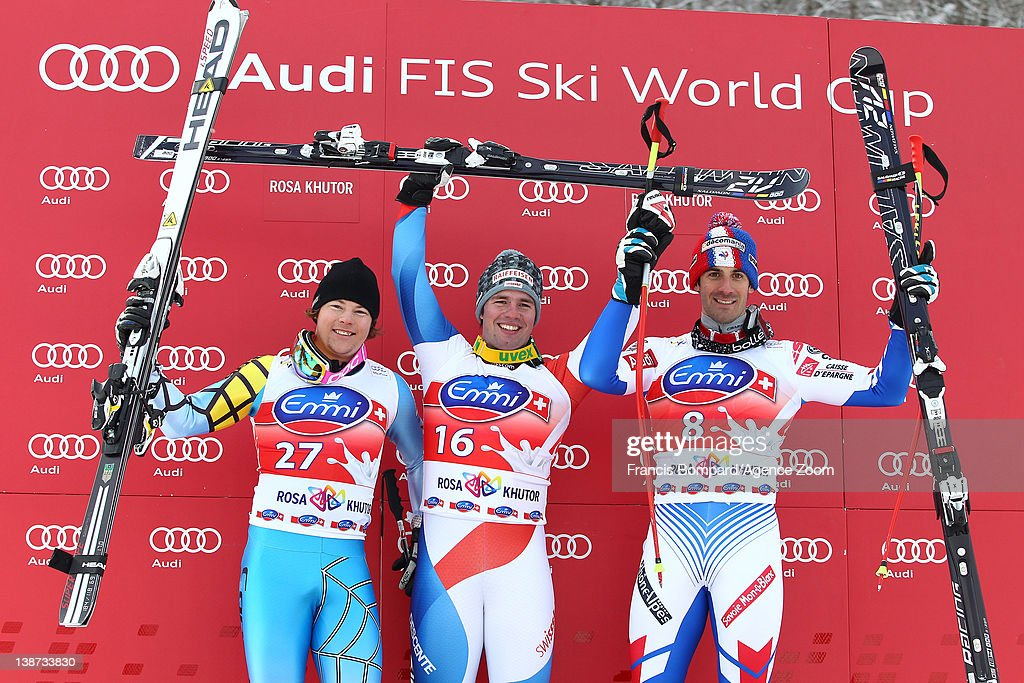 Beat Feuz of Switzerland takes 1st place, Benjamin Thomsen of Canada takes the 2nd place,<a gi-track='captionPersonalityLinkClicked' href=/galleries/search?phrase=Adrien+Theaux&family=editorial&specificpeople=2138351 ng-click='$event.stopPropagation()'>Adrien Theaux</a> of France takes 3rd place during the Audi FIS Alpine Ski World Cup Men's Downhill on February 11, 2012 in Sochi, Russia.
