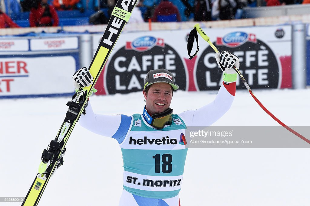 <a gi-track='captionPersonalityLinkClicked' href=/galleries/search?phrase=Beat+Feuz&family=editorial&specificpeople=4193254 ng-click='$event.stopPropagation()'>Beat Feuz</a> of Switzerland takes 1st place during the Audi FIS Alpine Ski World Cup Finals Men's and Women's Downhill on March 16, 2016 in St. Moritz, Switzerland.