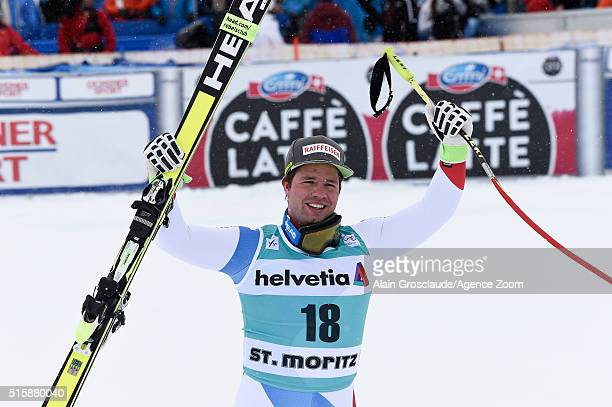 Beat Feuz of Switzerland takes 1st place during the Audi FIS Alpine Ski World Cup Finals Men's and Women's Downhill on March 16 2016 in St Moritz...