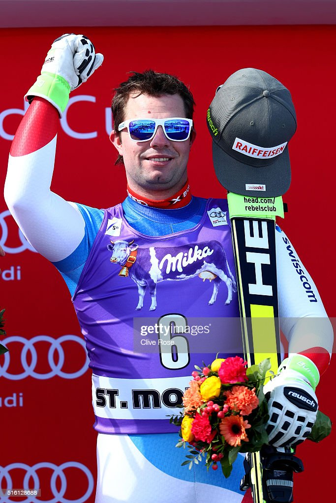 <a gi-track='captionPersonalityLinkClicked' href=/galleries/search?phrase=Beat+Feuz&family=editorial&specificpeople=4193254 ng-click='$event.stopPropagation()'>Beat Feuz</a> of Switzerland takes 1st place during the Audi FIS Alpine Ski World Cup Finals Men's and Women's Super-G on March 17, 2016 in St. Moritz, Switzerland.