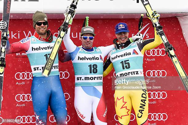 Beat Feuz of Switzerland takes 1st place Steven Nyman of the USA takes 2nd place Erik Guay of Canada takes 3rd place during the Audi FIS Alpine Ski...