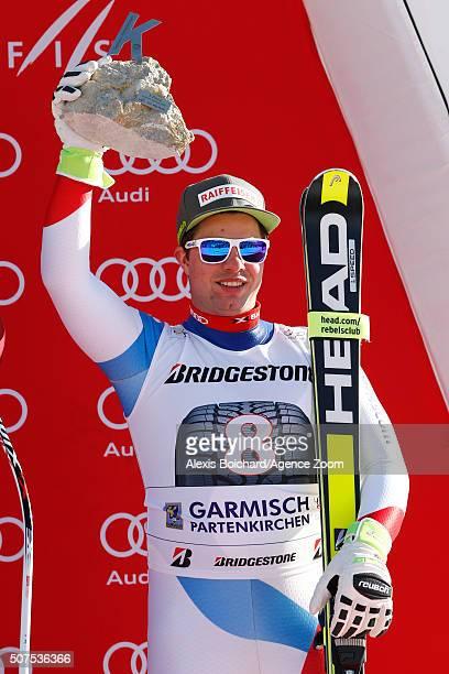 Beat Feuz of Switzerland takes 3rd place Alpine Ski World Cup Men's Downhill on January 30 2016 in GarmischPartenkirchen Germany