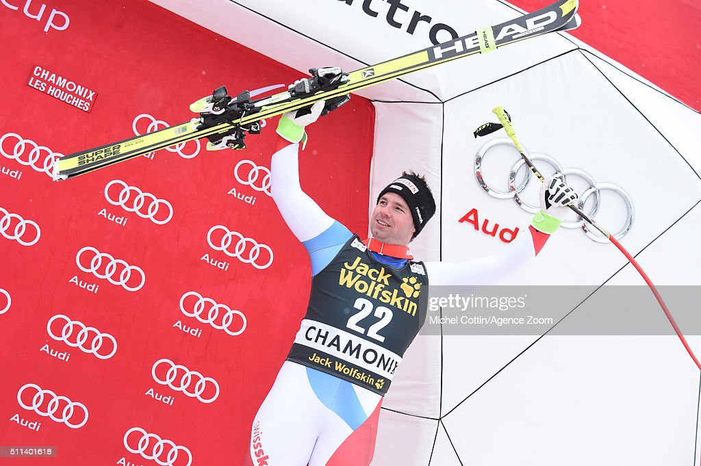 <a gi-track='captionPersonalityLinkClicked' href=/galleries/search?phrase=Beat+Feuz&family=editorial&specificpeople=4193254 ng-click='$event.stopPropagation()'>Beat Feuz</a> of Switzerland takes 3rd place during the Audi FIS Alpine Ski World Cup Men's Downhill on February 20, 2016 in Chamonix, France.
