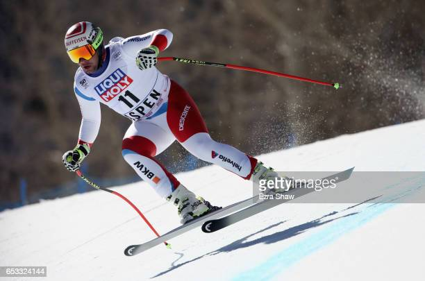 Beat Feuz of Switzerland takes a training run for the men's downhill at the Audi FIS Ski World Cup Finals at Aspen Mountain on March 14 2017 in Aspen...