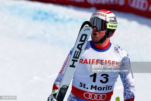 Beat Feuz of Switzerland wins the gold medal during the FIS Alpine Ski World Championships Men's Downhill on February 12 2017 in St Moritz Switzerland