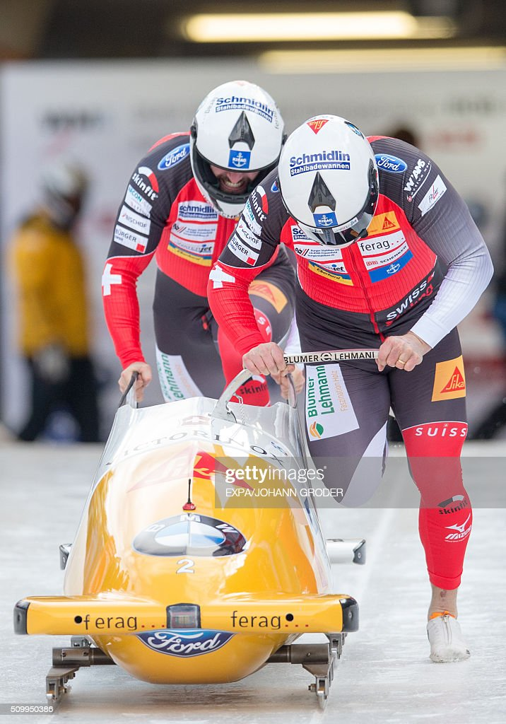 Beat Hefti and Alex Baumann of Switzerland compete during two-men Bobsleigh 1st run of Bobsleigh and Skeleton World Championships in Innsbruck Igls, Austria, on February 13, 2016. / AFP / APA / EXPA/JOHANN GRODER / Austria OUT