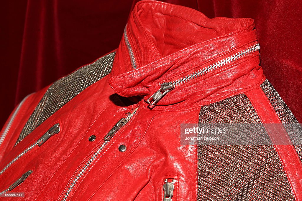 A 'Beat It' jacket worn by recording artist Michael Jackson is displayed at Nate D. Sanders Media Preview For Michael Jackson 1980's Iconic Stage-Worn Items on December 14, 2012 in Los Angeles, California.