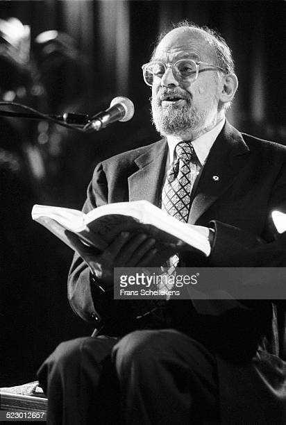 Beat poet Allen Ginsberg performs at the Paradiso on January 10th 1992 in Amsterdam the Netherlands