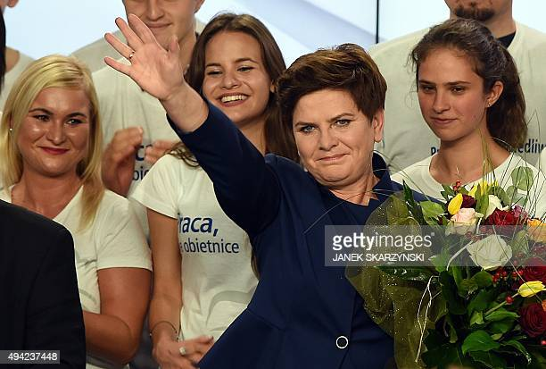 Beata Szydlo candidate for prime minister of the conservative opposition Law and Justice celebrates with supporters at the party's headquarters in...