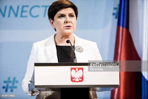 Beata Szydlo Poland's prime minister speaks during a news conference in Budapest Hungary on Wednesday July 19 2017 The European Parliament labeled...