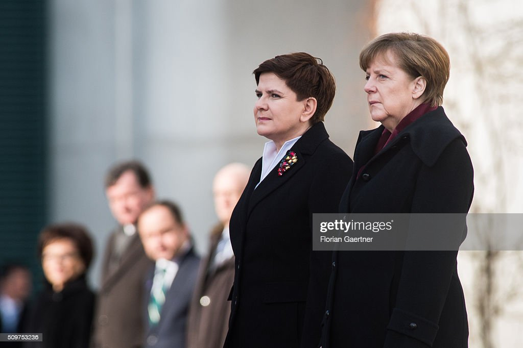 Beata Szydlo, Prime Minister of Poland, attends German Chancellor Angela Merkel on February 12, 2016 in Berlin.