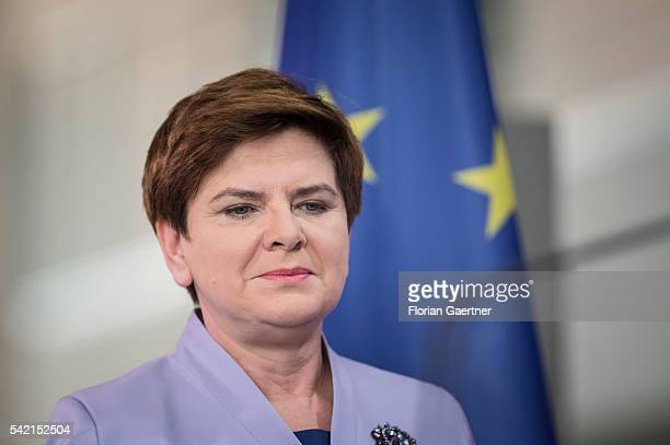 Beata Szydlo Prime Minister of Poland is seen in front of the flag of the European Union before a press conference on June 22 2016 in Berlin