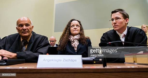 Beate Zschaepe the main defendant in the NSU neoNazi murder trial and her lawyers Mathias Grasel and Hermann Borchert wait for day 249 of the trial...