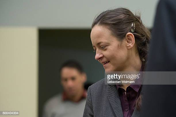 Beate Zschaepe the main defendant in the NSU neoNazi murder trial arrives for day 248 of the trial at the Oberlandgericht courthouse on December 8...